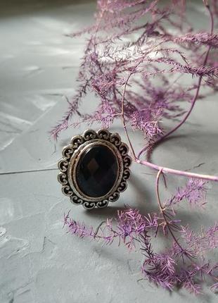 Кольцо черное граненое бохо богемный винтажный ретро стиль овальное круглое камень3