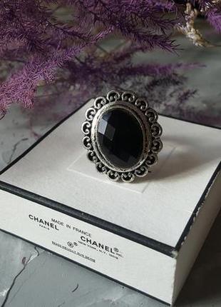 Кольцо черное граненое бохо богемный винтажный ретро стиль овальное круглое камень5