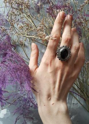 Кольцо черное граненое бохо богемный винтажный ретро стиль овальное круглое камень