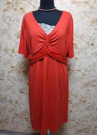 Класное яркое трикотажное платье, размер 46-48