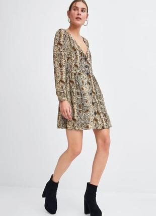 Платье змеиный принт на пуговицах animal print zara оригинал змея шифон