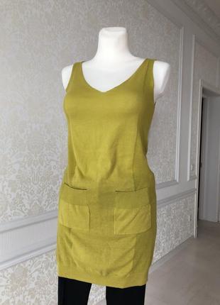 Кофта, длинная жилетка, платье трикотажное горчичного (желтого) цвета s, m