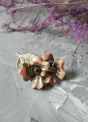 Брошь винтажная советская цветы значек металлическая