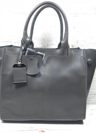 Женская кожаная сумка черная серая розовая жіноча шкіряна сумка чорна7 фото