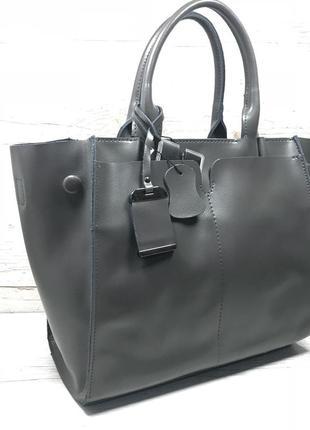 Женская кожаная сумка черная серая розовая жіноча шкіряна сумка чорна8 фото