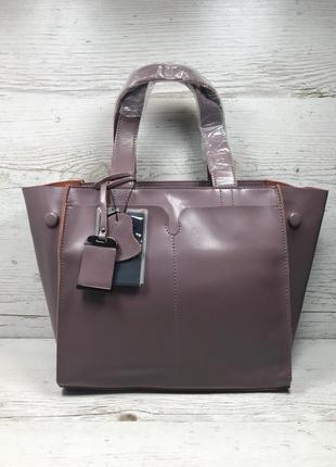 Женская кожаная сумка черная серая розовая жіноча шкіряна сумка чорна9 фото