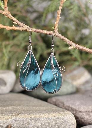 Серьги прозрачные голубые подарок девушке