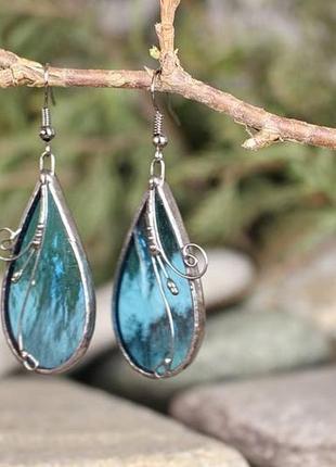 Серьги прозрачные голубые подарок девушке2 фото