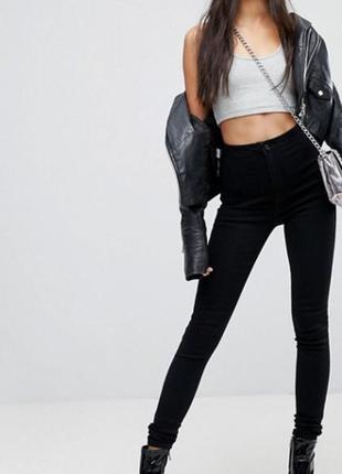 Чёрные джинсы штаны легенсы скинни missguided высокая талия