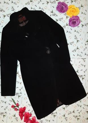 Акция 1+1=3 шикарное черное шерстяное + кашемир пальто ниже колена, размер 48 - 50, италия