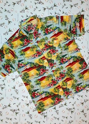 Акция 1+1=3 стильная яркая рубашка с коротким рукавом, размер 50 - 52, большой размер
