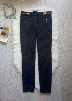 Синие плотные темные штаны брюки прямые с карманами кожзам низкая талия посадка