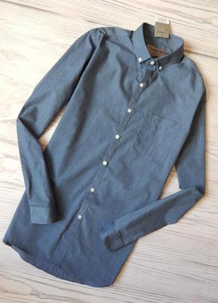 Обалденная мужская джинсовая легкая рубашка от topman. размер м.