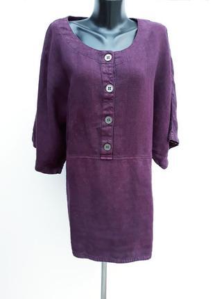 Лянной джемпер с большими карманами джемпер из натур ткани