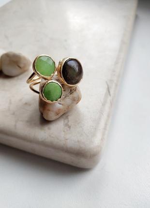 Изумительное кольцо, натуральный жадеит и яшма, позолота 24к