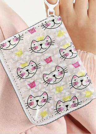 Новый оригинальный серебристый короткий кошелек на молнии котики кот