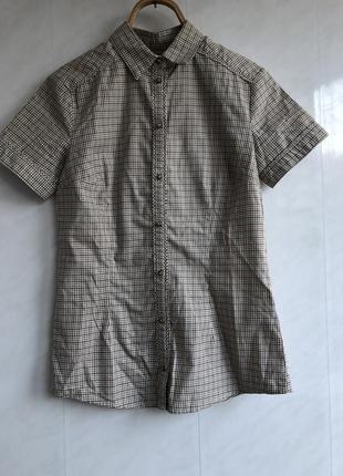 Рубашка офисная деловая школьная с коротким рукавом в мелкую клеточку mango