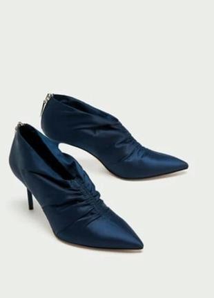 Шикарные атласные ботильоны туфли
