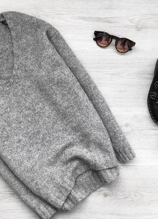 Крутой шерстяной джемпер/свитер/пуловер с v-образным вырезом h&m