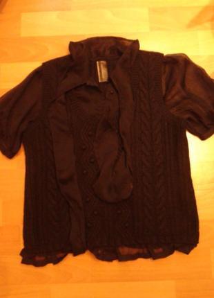 Красивая блуза, жилет с шифоновыми рукавами  и юантом -бренд-, next