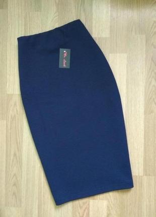 Трикотажная демисезонная юбка карандаш миди с завышенной талией xs s m l