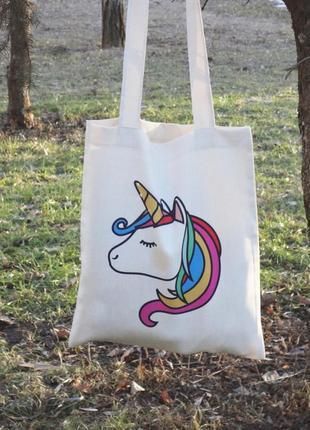 Экосумка единорог, сумка-шоппер единорог, подарок девушке, подарок на 8 марта, екосумка