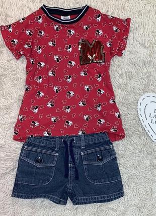 Летний стильный комплект disney/matalan девочке 4-6 лет