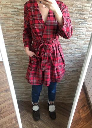 Красная блуза туника платье zara шотландская клетка новая м 12 40
