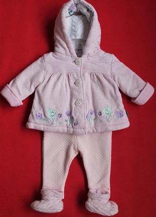 Комплект пальтишко-курточка и штанишки для малышки 0-3 мес