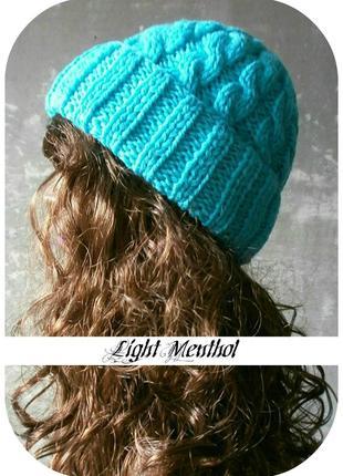 Любая расцветка! хлопковая шапка с отворотом/косы/нежно-ментолового цвета
