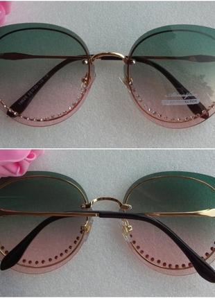 New 2019! новые яркие очки со стразами, зелено-розовые