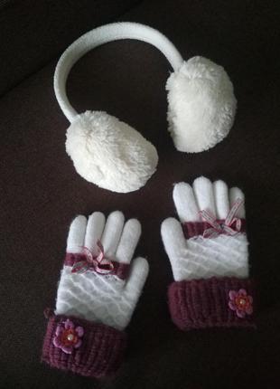 Меховые ушки для девочки перчатки рукавицы набор
