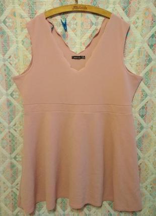 Нюдовая туника блуза с баской большой размер для шикарной леди