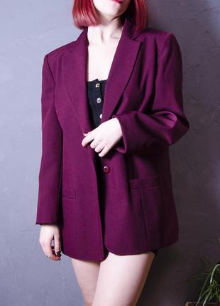 Вишневый блейзер oversize, пиджак в прямом крое, жакет marks & spencer