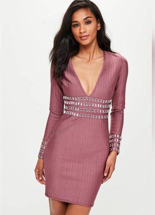 Шикарное пудровое вышитое камнями платье бандаж missguided m-l 12