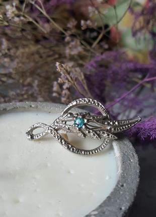 Брошь кристаллы яркая сверкает значек серебряная крупная граненая