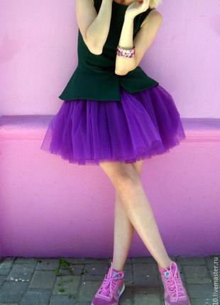Фиолетовая юбочка с черным фатином