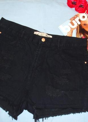 Женские шорты джинсовые размер 50 / 16 черные темные короткие рваные крутые на лето