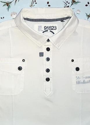 Акция 1+1=3 стильная белая футболка поло с карманами next, размер 50 - 52