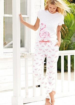 Суперовые легкие домашние пижамные брюки принт фламинго next