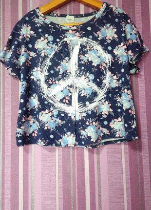 """🌸🌻яскрава футболка топ """"peace""""🌻🌸"""