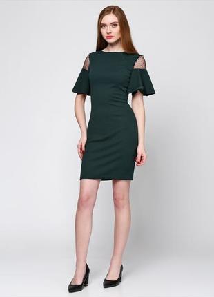 Платье зеленое сетка воланы