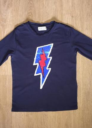 Модная футболка с длинным рукавом с пайетками zara kids