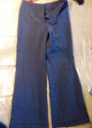 Стильные синие в мелкую полоску брюки штаны клеш