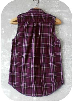 Хлопковая рубашка без рукавов/клетка/виноградного цвета/divided by h&m3