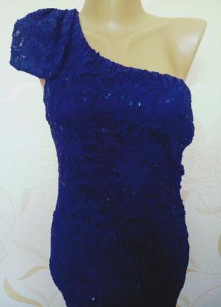 Красивое  праздничное платье футляр насыщенного синего цвета на коктель,свадьбу,выпускной