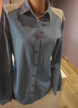 Супер стильная джинсовая рубашка, взаде трикотаж серый, без дефектов.