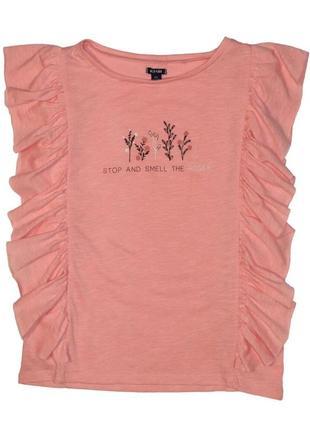 Новая розовая футболка с оборками для девочки, kiabi, vx56402