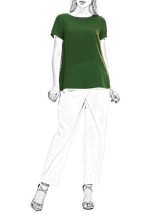 Вискозная блуза с короткими рукавами/бутылочного цвета/h&m