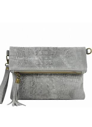 Кожаная серая сумка-клатч tecla италия разные цвета